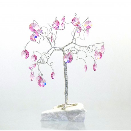 Happiness tree with crystal rose trimmings www.sklenenevyrobky.cz