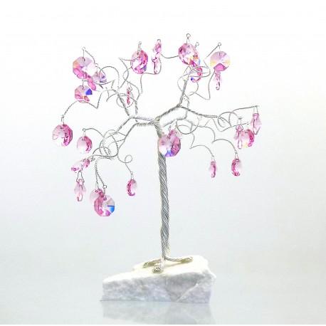 Stromek pro štěstí s křišťálovými ověsy růženín
