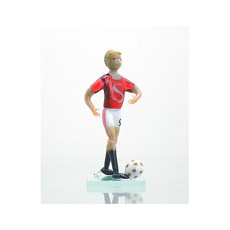 Soccer player Sparta Prague made of glass 11cm www.sklenenevyrobky.cz
