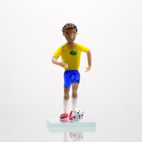 Skleněný fotbalista 11cm Brazílie