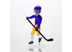 Hokejista zo skla 11 cm team Sweden www.sklenenevyrobky.cz