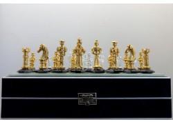 Šachy s motivem gotické Anglie, zlacený cín na křišťálu 25x25 cm