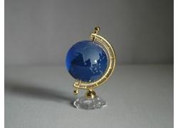 Těžítko globus ze skla 50mm modrá,výška 9cm