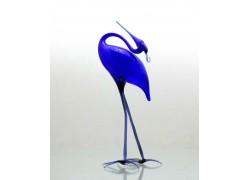 Blue heron made of glass www.sklenenevyrobky.cz