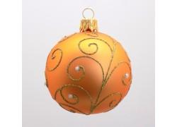 Vánoční ozdoba koulička, paví brk, barva lososová, 7 cm