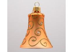 Vánoční ozdoba - zvonek - dekor paví brk, barva zlatá