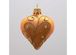 Vánoční ozdoba srdíčko - dekor paví brk, barva zlatá