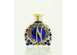 Glass flacon for perfumes with letter N