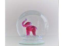 Sněžící koule 8cm - růžový slon