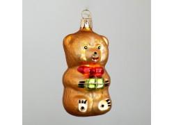 Christmas ornament teddy bear, with gift www.sklenenevyrobky.cz