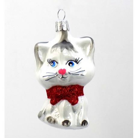 Vánoční ozdoba kotě s mašlí bílé