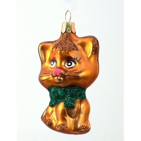 Vánoční ozdoba kotě s mašlí zlaté