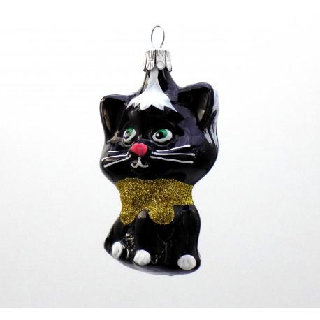 Vánoční ozdoba kočka s mašlí v černém dekoru www.sklenenevyrobky.cz