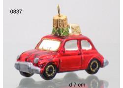 Vánoční ozdoba, auto malé s dárkem 70x40x30mm www.sklenenevyrobky.cz