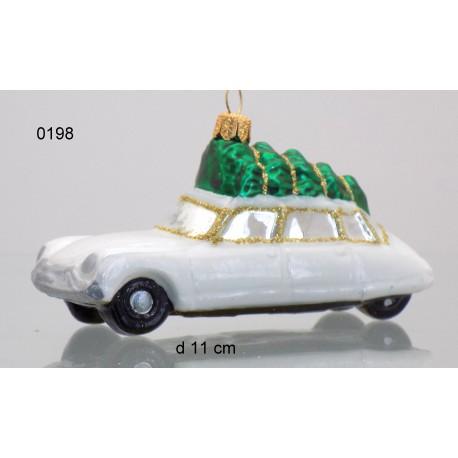 Vánoční ozdoba auto s vánoční stromkem, citroen www.sklenenevyrobky.cz
