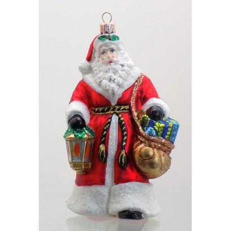 Vánoční ozdoba Santa s lucernou 16 cm