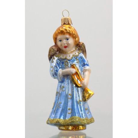 Vánoční ozdoba Anděl 102 s trumpetou 11x5,5x5,5 cm