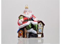 Weihnachtsschmuck Santa und Holzuhr www.sklenenevyrobky.cz