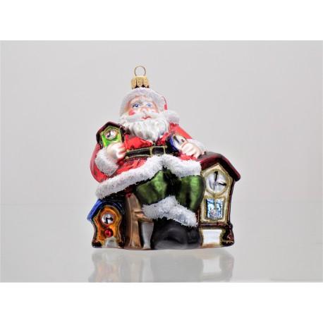 Christmas ornament Santa and wooden clock www.sklenenevyrobky.cz