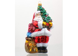 Christmas ornament Santa Claus with a Christmas tree