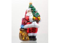 Vánoční ozdoba Santa Claus s vánočním stromečkem www.sklenenevyrobky.cz