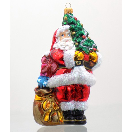 Christmas ornament Santa Claus with a Christmas tree www.sklenenevyrobky.cz