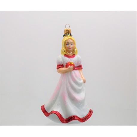 Christmas ornament Snow White in a pink dress www.sklenenevyrobky.cz