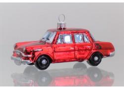 Christbaumschmuck odtimer Auto Škoda in rote Farbe www.sklenenevyrobky.cz