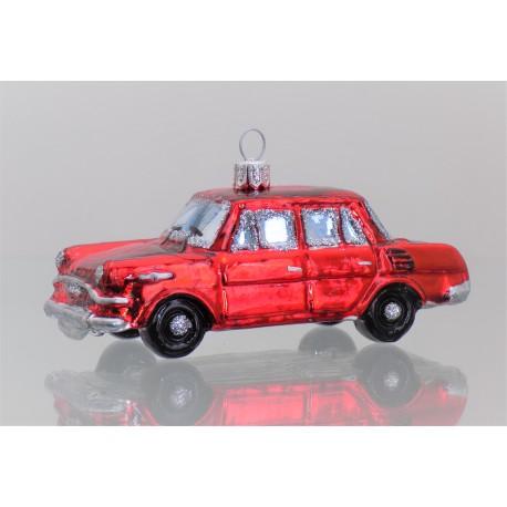 Christmas ornament, Car Skoda red color www.sklenenevyrobky.cz