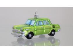 Christmas retro ornament car Škoda in green color