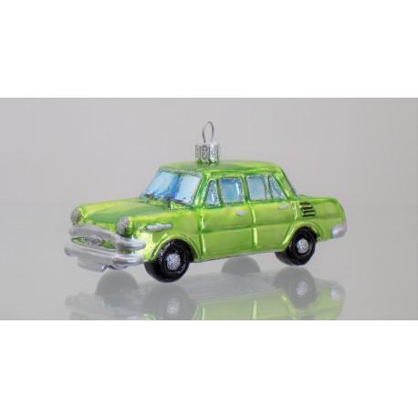 Christmas retro ornament car Škoda in green color www.sklenenevyrobky.cz