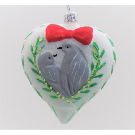 Vánoční ozdoba srdce 8,5x10x3,5cm