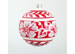 Christmas ball 8cm, red white decor www.sklenenevyrobky.cz