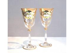 Sklenice na víno, 2 ks, zlacené a dekorované, čiré sklenice