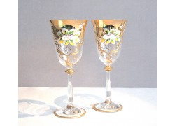Wine glass, 2 pcs, gilded and decorated, clear glasses www.sklenenevyrobky.cz