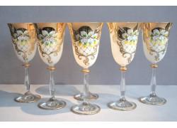 Wine glass, 6 pcs, gilded and enamel, in white www.sklenenevyrobky.cz