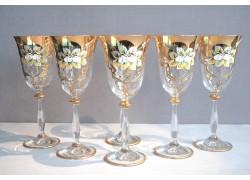 Sklenice na víno, 6 ks, zlacené a smaltovaná, čirá sklenice