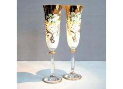 Sklenice na šampaňské, 2 ks, zlacené a dekorované, bílé www.sklenenevyrobky.cz