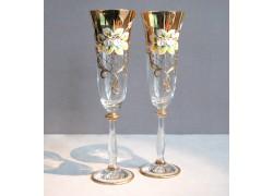 Sklenice na šampaňské, 2 ks, zlacené a dekorované, čiré sklenice www.sklenenevyrobky.cz