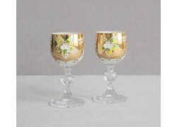 Sklenice na aperitiv, 2 ks, zlacené a dekorované, v bílé barvě www.sklenenevyrobky.cz
