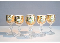 Aperitif glasses, 6 pcs, gilded and decorated, in white www.sklenenevyrobky.cz