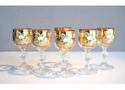 Aperitif glasses, 6 pcs, gilded and decorated clear glass www.sklenenevyrobky.cz