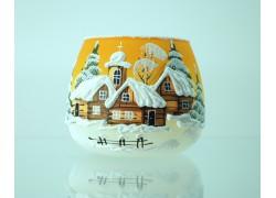 Vánoční svícen na svíčku I. zasněžená vesnička