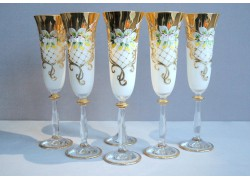 Sklenice na šampaňské, 6 ks, zlacené a smaltovaná, v bílé barvě