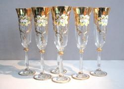 Sklenice na šampaňské, 6 ks, zlacené a smaltovaná, čirá sklenice