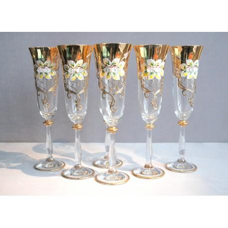 Sklenice Angela 190ml set 6ks sklenic na šampanské čiré se zlatem