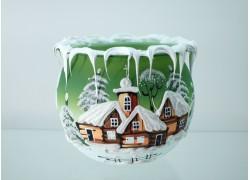 Vánoční svícen na svíčku III. zasněžená vesnička nová zelená
