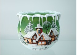 Vianočný svietnik na čajovú sviečku, v zelenej farbe 10cm