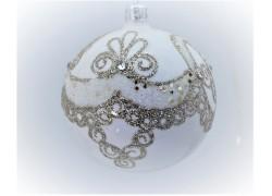 Vánoční koule 80mm zdobená na stromeček