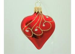 Vánoční ozdoba srdíčko - dekor paví brk, barva červená